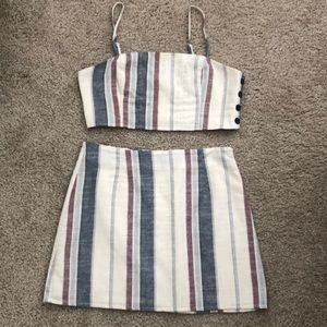 Forever 21 Striped Two Piece Skirt Set Size M/L